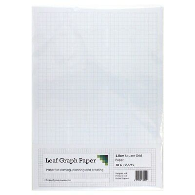 A3 Graph Paper 10mm 1cm Squared, 30 Loose-Leaf Sheets, Grey Grid Lines