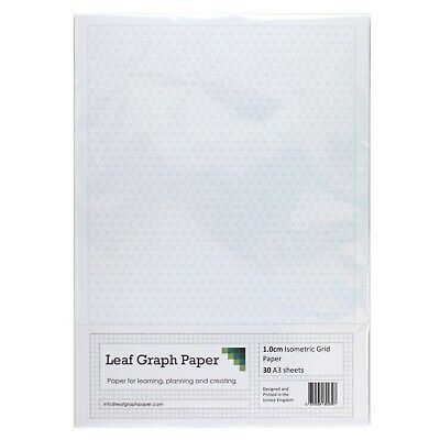 A3 Graph Paper Pack, 1cm 10mm Isometric, 30 Loose-Leaf Sheets, Grey Grid Lines
