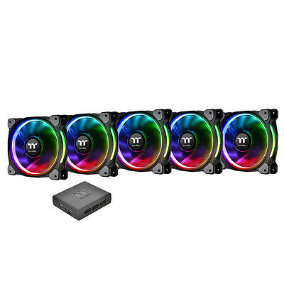 ThermalTake Riing Plus RGB 140mm PWM Premium Fans, 5 Pack with Software Control