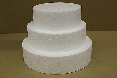 "Set of Three 5"", 7"" and 9"" Round Straight Edge Cake Dummies 3"" High - Free"