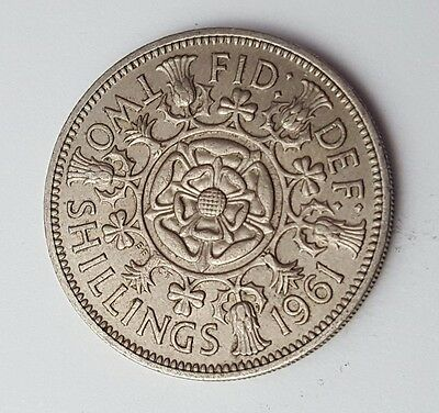 Dated : 1961 - Queen Elizabeth II - One Florin / Two Shillings Coin