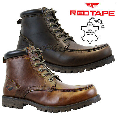 Mens Red Tape Leather Dealer Military Cowboy Biker Ankle Work Brogue Boots Size