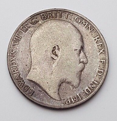Solid Silver - Two Shillings / Florin Great Britain - King Edward VII - UK Coin