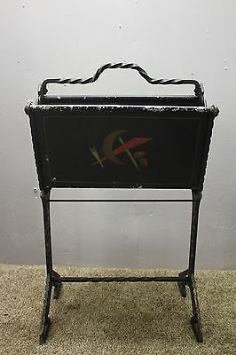 Arts and Craft hand hammered  hand painted cast iron & metal magazine stand ,
