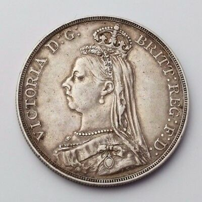 Dated : 1890 - Queen Victoria - Solid Silver - One Crown - Rare English Coin
