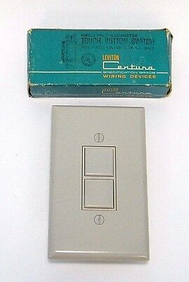 NIP GRAY VtG MiD CENTURY ReTrO PUSH TOUCH BUTTON WALL LiGHT SWiTCH & COVER PLATE