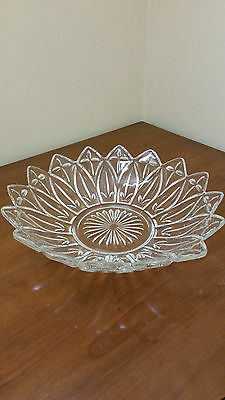 Vintage Cut Glass Bowl Dish Plate Star Pointed Edges 10""