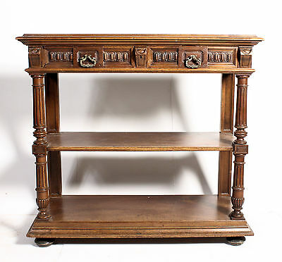 FIne C19th Antique Victorian Flemish Oak Marble Carved Oak Buffet Sideboard