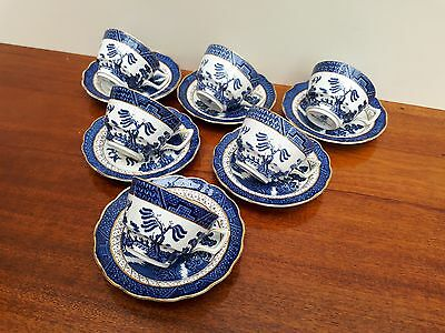 Booths Real Old Willow A8025 x6 Large Breakfast Cups & Saucers