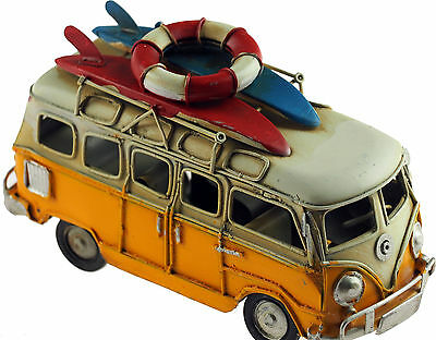 VW Camper Van 16cm Model Metal Ornament With Surf Boards - Yellow