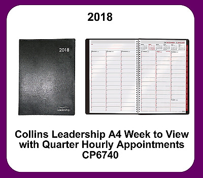 Collins 2018 A4 Leadership Week to View (Appointments) Wiro bound Diary - CP6740