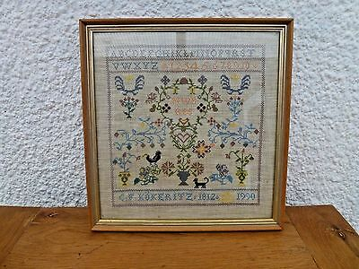 Lovely framed hand-stitched cross stitch sampler pretty + alphabet & numbers
