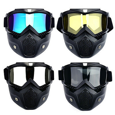 Modular Mask Detachable Goggles Mouth Filter Face Motorcycle Half Helmet