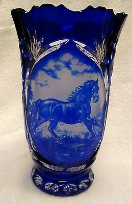 """Bohemian Cobalt Blue Horse Cameo Signed Cut to Clear Crystal Vase """"Stunning"""""""
