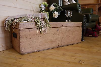 Antique rustic solid waxed pine old chest, trunk, storage box, vintage tool box