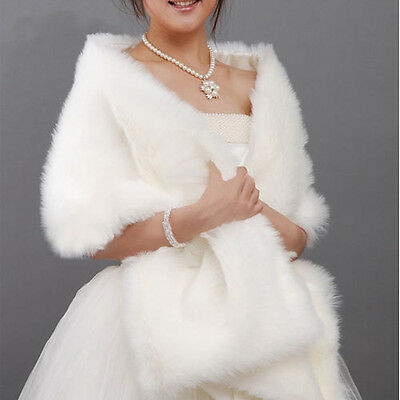 Cocktail Dress Stole Bridal Wedding Party Faux Fur Shawl Wrap Shrug Bolero Eleg