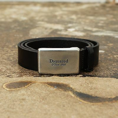 NEW Dsquared Dark Brown Distressed Leather Belt With Silver Buckle BNWT RRP £135