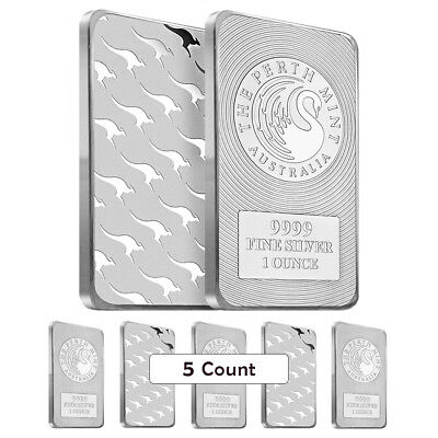 Lot of 5 - 1 oz Australia Perth Mint Silver Kangaroo Bar .9999 Fine