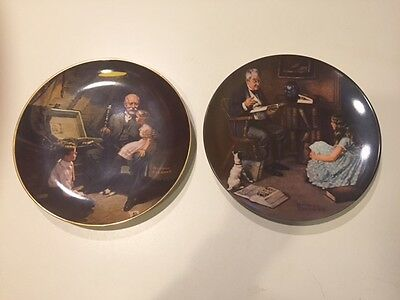 2 KNOWLES NORMAN ROCKWELL COLLECTOR PLATES Storyteller/Grandpa's Treasure Chest
