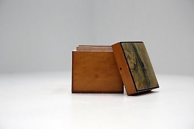 Antique Wooden Mauchline Ware Trinket Box - Landscape scene with building in b/g