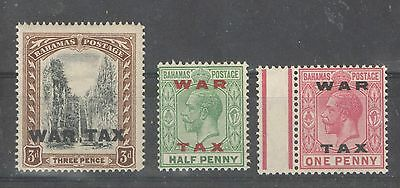 Bahamas 1918 Sc MR10-12 War Tax Stamps UMM MNH