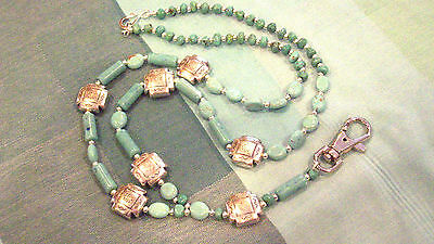 Southwest Style Turquoise Glass Bead ID Badge Necklace Chain Lanyard Key Chain