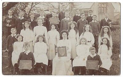 HALSTOCK School Group with Prize Boards, RP Postcard by Green of Evershot Unused