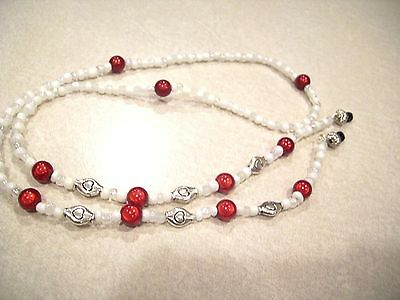 Red Miracle & Silver Heart Bead Eyeglass Holder Chain Necklace OOAK