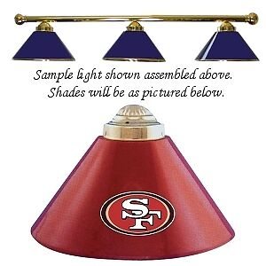 NFL San Francisco 49ers Red Shade & Chrome Bar Billiard Pool Table Light