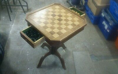 Nice Old Chess Table With Drawers And Chess Set