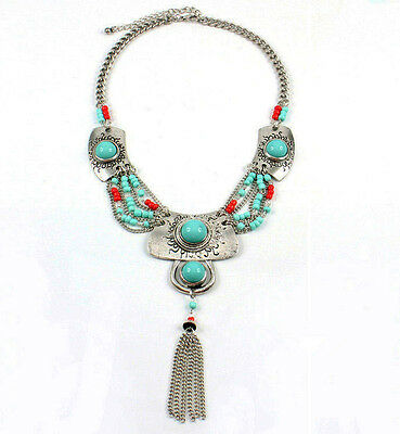 BOHO Long Pendant Necklace Ethnic Tribal Bohemian TURQUOISE and red Beads