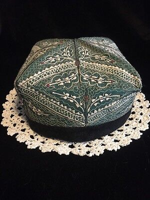 4981) VTG Chinese Hat Skull Cap Embroidered Hand-stitched Green w White & Brown