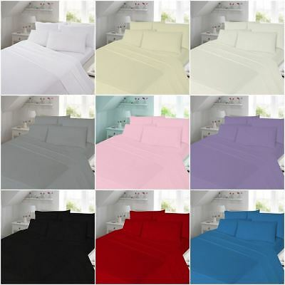 Plain Thermal Flannelette 100% Brushed Cotton Duvet Cover Set with Pillow Case