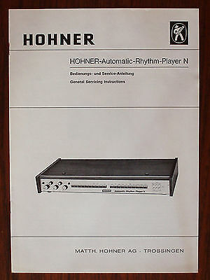 vintage original 1974 HOHNER Automatic-Rhythm-Player N service manual