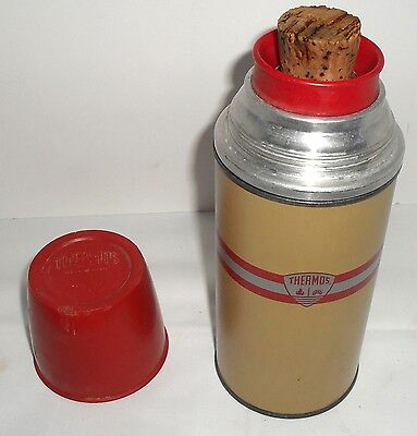 Vtg 1 Cup American Thermos Vacuum Bottle Red/Silver/Lt Brown Cork Cup 2034