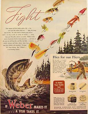1944 Weber Fly Tackle Fly Fishing Color Print Ad