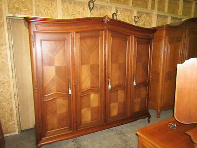 Nice quality 4 door carved French mahogany wardrobe,armoire w shelves Louis XV