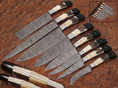 Custom Handmade Damascus Steel Beautiful 8Pcs. Kitchen Knives Set - EC - 09