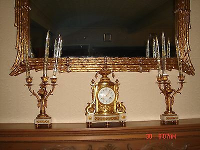 Circa 1900 Bronze and Alabaster Clock Garniture de Cheminee