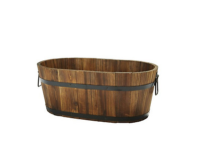 Barrel Planter Wooden Box Garden Patio Home Flower Plant Pot Outdoor Oval Rustic