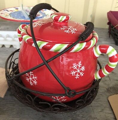 Celebrating Home Round Christmas Bean Pot With Holder And Small Matching Bowl