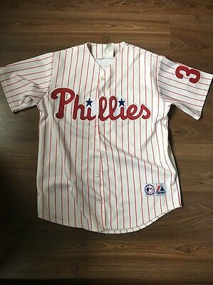 Majestic Philadelphia Phillies Baseball Jersey Lee 33 White Medium