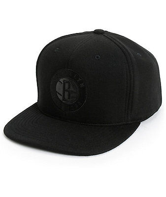 a678e5c72f7 Mitchell   Ness Brooklyn Nets Blacked Out Snapback Hat cap 100% Authentic  New!