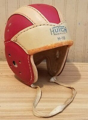 Antique 1930's Hutch H-18 Early Leather Football Helmet RED Size Medium ~ CLEAN
