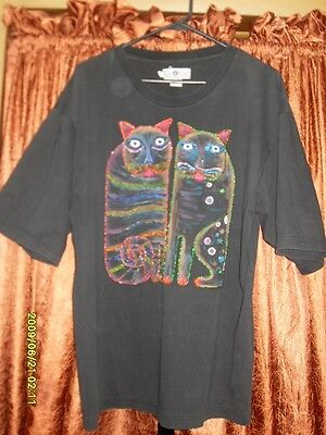 Laurel Burch Beaded Cats Tee Shirt - Black - Size L To Xl