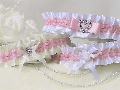 Bridal garter. White/Ivory with Pink Azalea. In 3 Styles with 'Something blue'