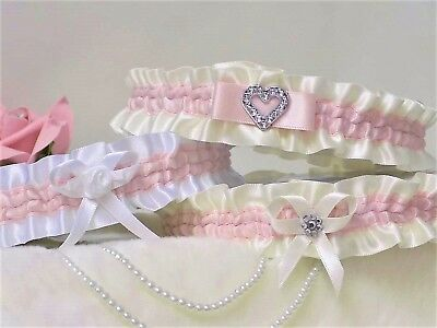 Bridal garter. White/Ivory with Pale Pink.  In 3 Styles with 'Something blue'