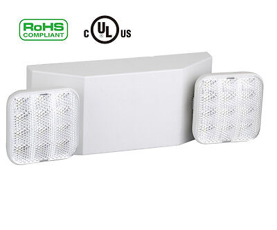 LED Two Head Emergency Light with Battery Back-up White Standard Square Head