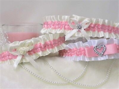 Bridal garter. White/Ivory with Dark Rose.  In 3 Styles with 'Something blue'