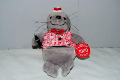 Coca Cola Seal Vest Sailor Hat Millenium 2000 Plush Beanie Lovey Toy Doll NOSWT